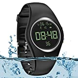 Simple Fitness Tracker [Swim Waterproof No APP Need] Step Counter Walking 3D Non-Bluetooth Walking Pedometer Watch with Vibration Alarm Clock/Calorie Burned/Distance/Alarm/Stopwatch for Kids Women Men