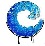 LEMOKIKI Fused Glass Ocean Suncatcher Ornament, Glass Wave Sun Catcher, Creative Gradient Blue Wave Sculpture, Ocean Waves Art Handmade Crafts Ornament Home Wedding Decoration Accessories (L)