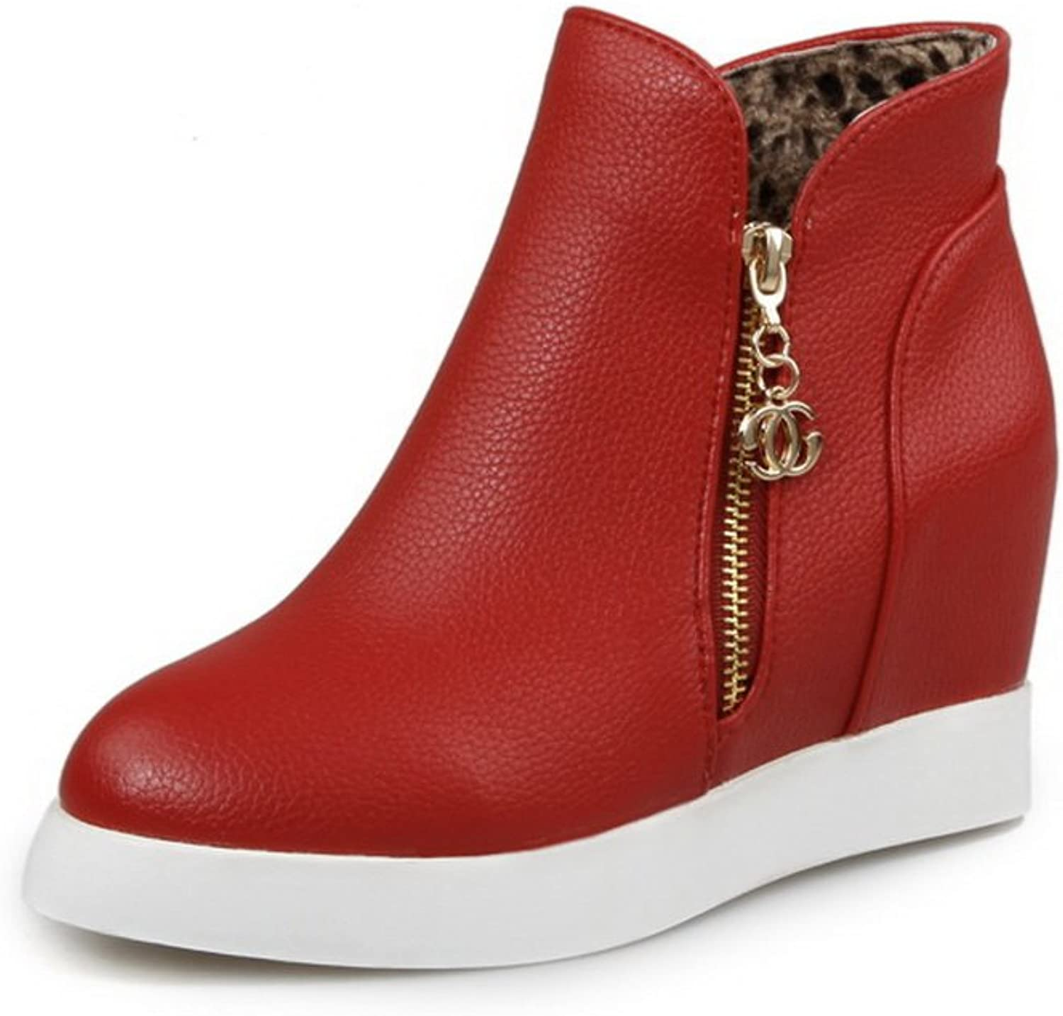 BalaMasa Ladies Metalornament Heighten Inside Zipper Red Imitated Leather Boots