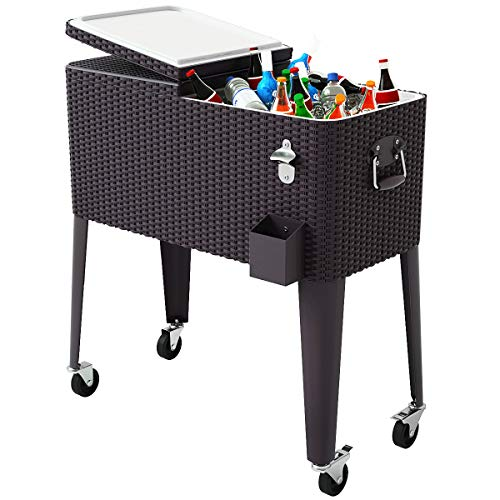 Giantex 80 Quart Rattan Rolling Cooler Cart Outdoor Patio Portable Party Drink Beverage Bar Cold Beach Chest Cart on Wheels, Brown Wicker, 32.7''(L)