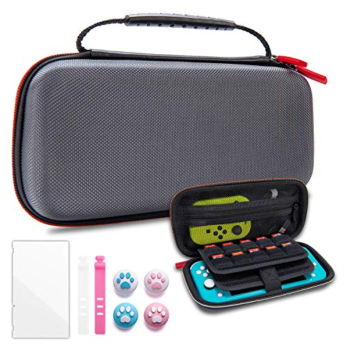 VENLING Carrying Case for Nintendo Switch Lite, Portable Hard Shell Carry Case for NS Lite with 19 Game Cartridges, Lite Traveler Case with 1 Screen Protector 4 Thumb Grips Caps & 2 Cable Ties, Gray