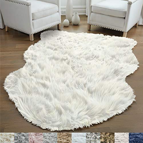 GORILLA GRIP Original Premium Faux Sheepskin Fur Area Rug, 3 FT x 5 FT, Softest, Luxurious Carpet Rugs for Bedroom, Living Room, Luxury Bed Side Plush Carpets, Sheepskin, Ivory