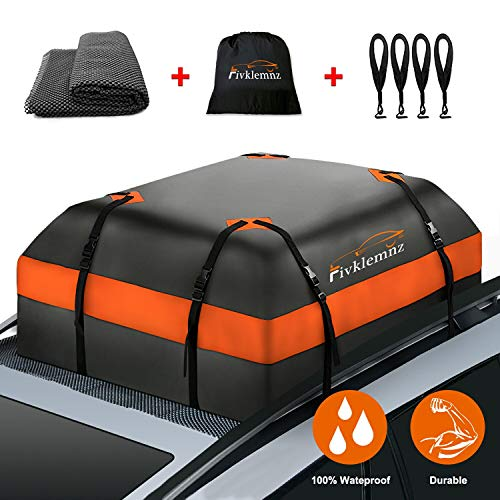 FIVKLEMNZ Car Roof Bag Cargo Carrier, 15 Cubic Feet Waterproof Rooftop Cargo Carrier with Anti-Slip Mat + 8 Reinforced Straps + 4 Door Hooks Suitable for All Vehicle with/Without Rack