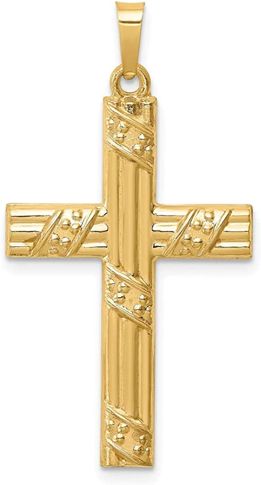 14k Yellow Gold Hollow Textured Recommendation Cross Latin Pendant online shop Striped and