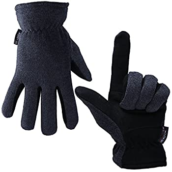 OZERO Deerskin Suede Leather Palm and Polar Fleece Back with Heatlok Insulated Cotton Layer Thermal Gloves Medium - Grey-Black