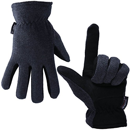 OZERO Deerskin Leather Thermal Gloves, Mens and Womens Winter Gloves for Cycling and Running