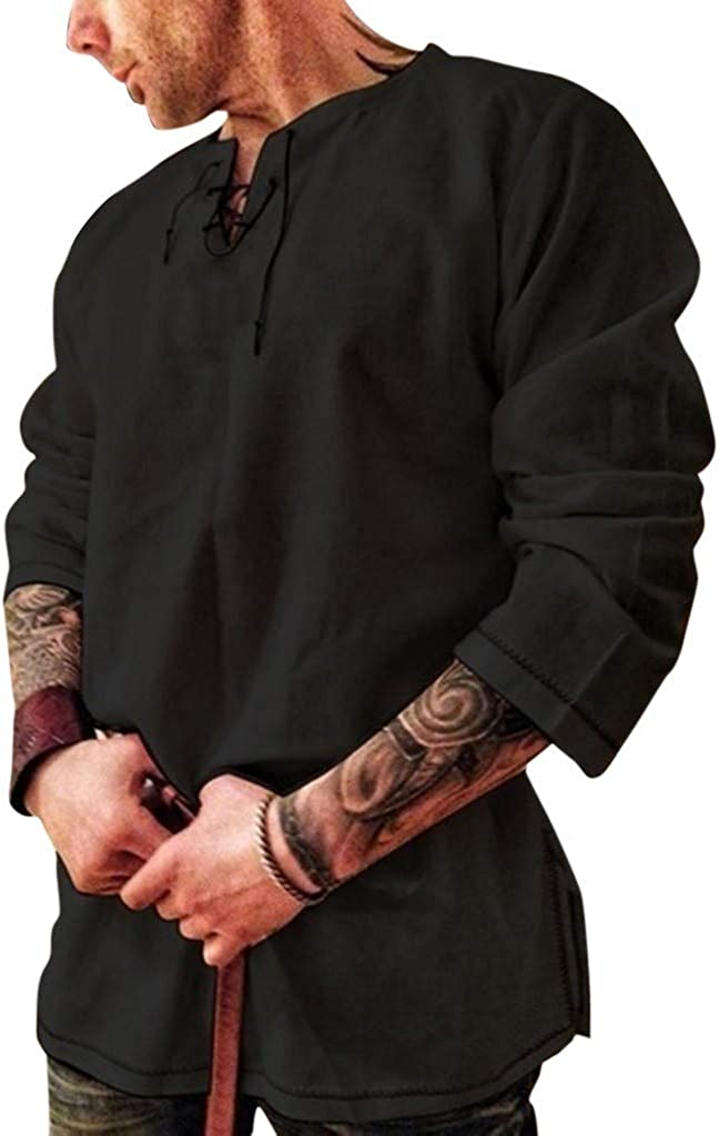 Men's Scottish Shirt Cotton and Linen Solid Color Long Sleeve Lace Up Retro Medieval Renaissance Pirate Costume