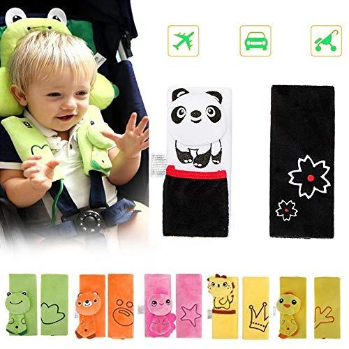 DQTYE - Imbracatura morbida per cintura di sicurezza per bambini, con motivo animale, per passeggino, cintura di sicurezza (panda, nero)