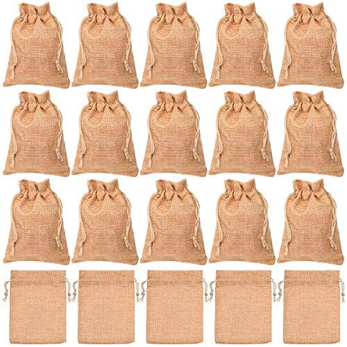 Cisolen 20 sacos de yute para regalo con cordón para cumpleaños, bodas,...