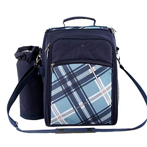 FBKPHSS Praktisch Picknickrucksack, Picknick Rucksack für 2 Personen Wasserdicht Isolierung und Kühlung 2 in 1 Picknicktasche für Strand Outdoor Camping Geeignet,Blau