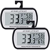 AEVETE Refrigerator Thermometer Digital Fridge Freezer Thermometer with Magnetic Back Large LCD, No Frills Easy to Read (Black-2 Pack)