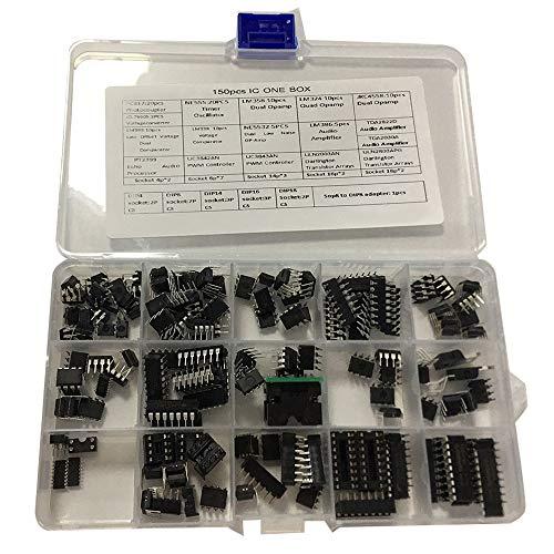 Senmubery IC-Chip-Sortiment 150 StüCk, Opamp, Oszillator, Pwm, PC817, NE555, LM358, LM324, JRC4558, LM393, LM339, NE5532 Inkl. Steckdosen