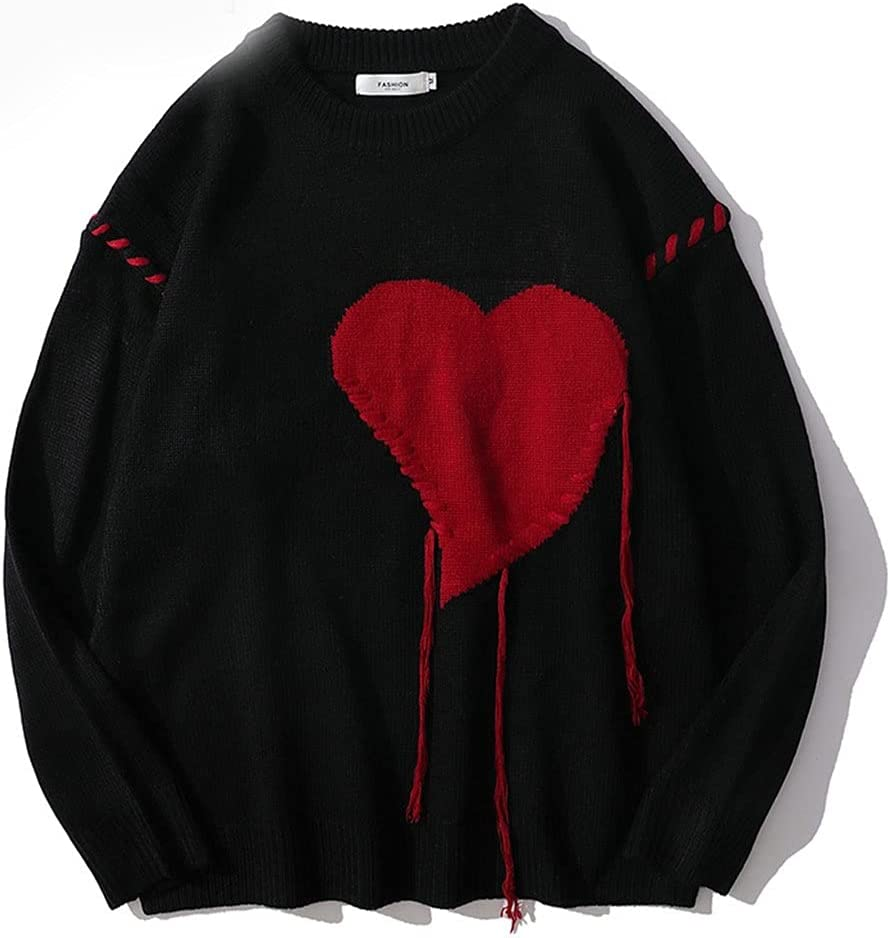 AAKKY Men's Sweater Harajuku Love Pattern Knitted Ugly Sweater Men Letter Punk Rock Black Red Vintage (Color : A, Size : L Code)