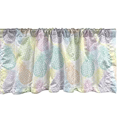 Ambesonne Pastel Window Valance, Colorful Outlines of Pineapple Fruits on Dotted Background Tropical Exotic Summer, Curtain Valance for Kitchen Bedroom Decor with Rod Pocket, 54' X 18', Multicolor