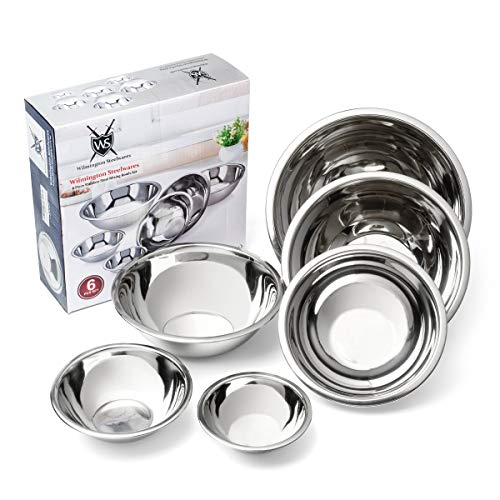 Wilmington Steelwares Premium Heavy Gauge Stainless Steel Mixing Bowls - Set Of 6 - Polished Mirror Finish Nested Bowls of 8 Qt, 5 Qt, 4 Qt, 3 Qt, 1.5 Qt And 3/4 Qt - Perfect Gift for Your Kitchen