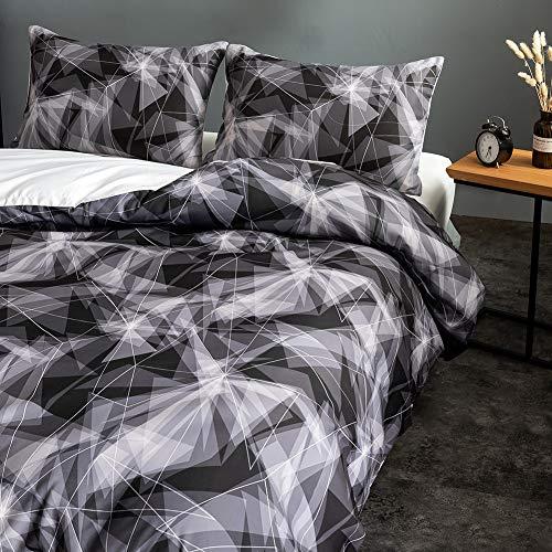 Fansu Nordic Bedding Set, Plant Printed Duvet Set Quilt Case Pillow Case - Boys Girls Bedroom Microfiber Duvet Cover Set for Double King Single Bed (Geometry,220x240cm)