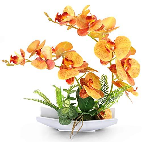 Yobansa Dekorative echte Berührung gefälschte Orchidee Bonsai künstliche Blumen mit Imitation Porzellan Blumentöpfe Phalaenopsis Blumenarrangements für Home Decoration (Orange)