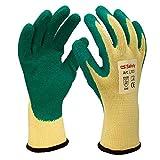 3 Paar Gartenhandschuhe für Damen und Herren | Garten Handschuhe | Dornenfest | Rosenhandschuhe | Handschuhe Garten | | Latex Überzug | Polyester Mischgewebe | Jungfleisch | Gr. 10