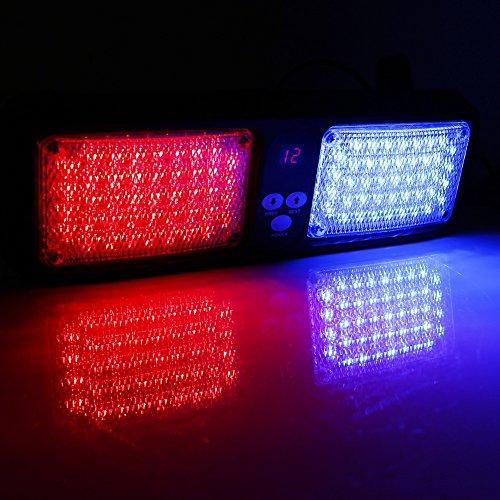 VGEBY 12V 86 LED Luz de Advertencia de Peligro para Techo Interior de Coche Lámpara de Faro de Emergencia de Coche Flash Luz Estroboscópico ( Color : Rojo+Azul)
