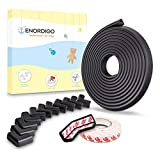 Weicher Kantenschutz Baby 6m + 12x Eckenschutz von ENORDIGO - BPA freier Schaumstoff Tischkantenschutz - Sicherheit für Kinder durch Stoßschutz (schwarz)