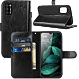 CUBOT Note 7 Case, CUBOT Note 7 Wallet Case, PU Leather Wrist Strap Card Slots Soft TPU Shockproof Protective Flip Cover Phone Case for CUBOT Note 7 4G 5.5 Inch, Black
