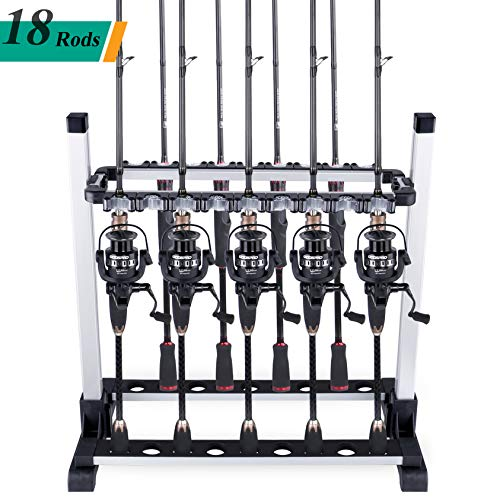 ODDSPRO Fishing Rod Rack, Fishing Rod Holder - Holds Up 6-18 Rods - for All Types of Fishing Rods and Combos