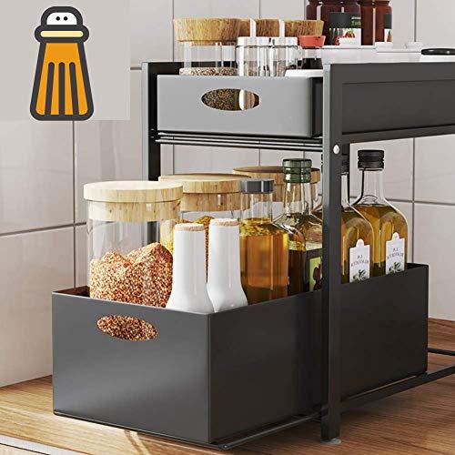 GOLDFAN - Scaffale Scorrevole a 2 Ripiani Rettangolare in Metallo Estraibile con cassetto Organizer per Cucina, Bagno, Ufficio, Nero