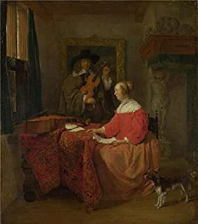 The High Quality Polyster Canvas Of Oil Painting 'Gabriel Metsu - A Woman Seated At A Table And A Man Tuning A Violin,about 1658' ,size: 8x9 Inch / 20x23 Cm ,this Amazing Art Decorative Canvas Prints Is Fit For Powder Room Decoration And Home Decor And Gifts