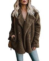 Shawhuwa Womens Fashion Winter Cozy Warm Casual Oversized Fleece Open Front Fuzzy Coat with Pockets Fluffy Cardigans Outerwear Jacket Medium Coffee