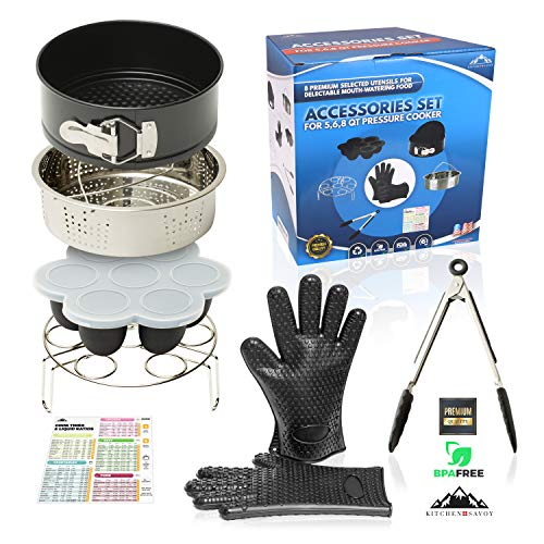 Pressure Cooker Accessories set - Compatible with 568Qt Instant pot Ninja Foodi all Electronic Pressure Cookers-Steamer Basket Springform Pan Silicone Gloves Egg Bites Mold Kitchen Tongs