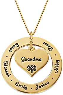 Grandma Mother Personalized Engraving Pendant Up to 7 Names- Family Jewelry Gift