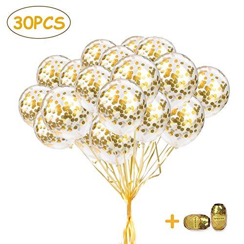 SPECOOL Globos de Confeti de Oro, 30pcs Globos de látex de 12 Pulgadas, Globos de Fiesta Bodas Despedida de Soltera Fiesta de cumpleaños 2020 Decoraciones de Fiesta de Nochevieja