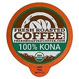 Fresh Roasted Coffee LLC, Organic Hawaiian 100% Kona Coffee Pods, Single Origin, Medium Roast, 18 Count