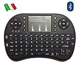 Rii Mini i8+ Bluetooth (Layout Italiano) - Mini Tastiera retroilluminata con Mouse touchpad per Fire TV, Tablet, Smartphone, Mini PC, Computer, Playstation, HTPC - Colore Nero