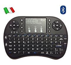 Rii Mini i8+ - Mini teclado inalámbrico (disposición de teclas italiana), retroiluminado, con panel táctil para smart TV, mini PC, HTPC, consola y ordenador. i8+ Bluetooth (NERO): Amazon.es: Informática