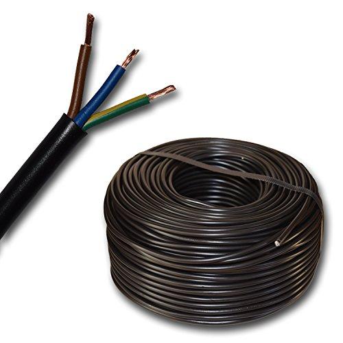 Kunststoff Schlauchleitung rund Kabel Leitung Gerätekabel H03VV-F 3x0,75 mm² 3G0,75 (mm2) - Farbe: schwarz 10m/15m/20m/25m/30m/35m/40m/45m/50m/55m/60m usw. bis 100 m in 5 Meter Schritten frei wählbar