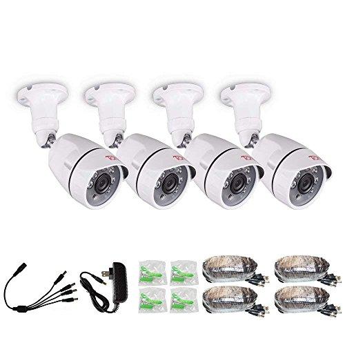 Tonton Juego de 4 cámaras de seguridad para exteriores 1080P, juego de cámaras CCTV para exteriores, 4 cámaras de seguridad Full HD 1080P para sistema de vigilancia, cámara de repuesto para grabadora