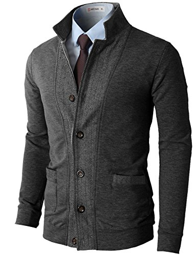 H2H Mens Two-Tone Herringbone Jacket Cardigans Charcoal US M/Asia L (JLSK03)