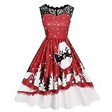 UJUNAOR Spitzennähten Damen-Print-Kleid mit Ohne Arm Weihnachtsdruck für Abend Party(Rot,CN M)