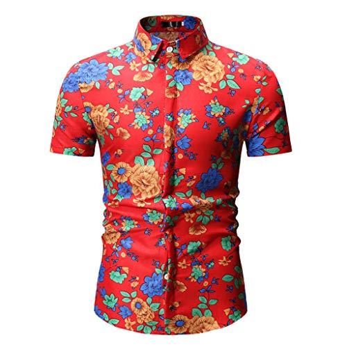 Verano Impreso Top Ventas Yvelands Hombres Stand Collar Slim Fit Camisa con Botones de Manga Corta Camisa de Trabajo(Rojo,L)