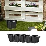 Set di 6 vasi per piante in plastica, larghezza 14 cm (1 x set da 6 fioriere B14 cm)