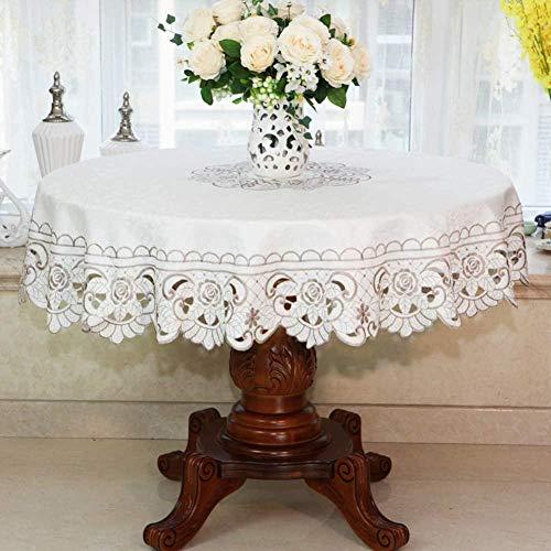Yooepd - Mantel redondo de poliéster, resistente a las arrugas, antiquemaduras, para cocina, boda, novia, baby shower, comedor, decoración de 150 cm de diámetro