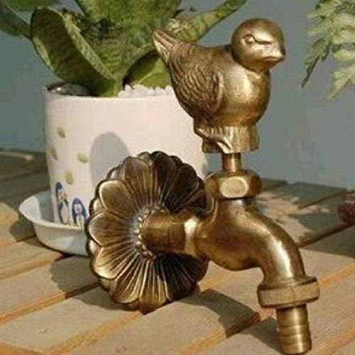 Grifo de jardín Grifo de lavabo E Grifo de exterior Grifo de jardín con forma de animal rural con grifo de pájaro de gorrión de bronce antiguo para lavadora Grifo de jardín Grifo de exterior