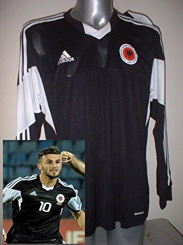 adidas Albanien Erwachsene XL L/S BNWT New Shirt Jersey Fußball Soccer Radsport Trikot Away Schwarz