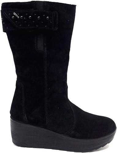 Igi & Co Stiefel para damen de Ante schwarz con Cremallera elásticos y Velcro schwarz Größe  36 EU