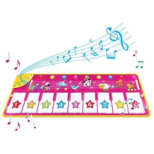 Achort Tappetino per Pianoforte per Bambini, Tappetino Musicale Tappetino per Pianoforte Tastiera Tappeto Toccare Tappetino da Ballo per Bambini, Giochi Bambina 100 * 36 cm (Viola)