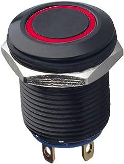 Mintice™ schwarz Kfz 12mm Rot LED Licht 2A momentaner Druckknopf wasserdicht Kippschalter Metall Schalter