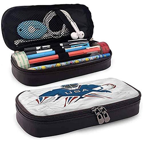 Estuche para lápices, Estuche para lápices de cuero, Estuche para lápices, Soporte para lápices de gran capacidad Deportes EE. UU. Hockey Portero Protección 4cmx9.2cmx20cm