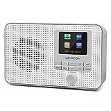 LEMEGA IR1 Portable WIFI Internet Radio, DAB/DAB+/FM Radio, Wireless Bluetooth, Dual Alarms&Clock, Sleep&Snooze Timer, 60 Pre-sets, Headphone-Output, Mains Powered&Batteries - Grey
