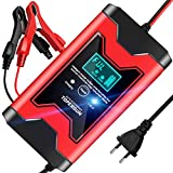TOPERSUN Autobatterie Ladegerät 6A 12V Intelligentes Batterieladegerät Autobatterie Vollautomatisches Ladegerät mit LED Bildschirm für Auto und Motorrad